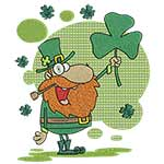 Happy Leprechaun with Shamrock 4x4