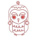 Cute Owls Redwork 01
