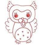 Cute Owls Redwork 02