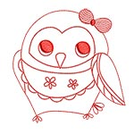 Cute Owls Redwork 03