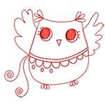 Cute Owls Redwork 04