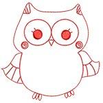 Cute Owls Redwork 05