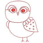 Cute Owls Redwork 06