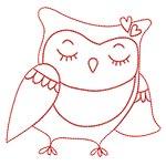 Cute Owls Redwork 07