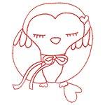 Cute Owls Redwork 08