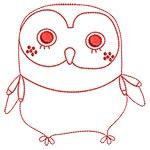 Cute Owls Redwork 09