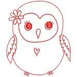 Cute Owls Redwork 10