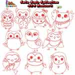 Cute Owls Redwork Collection