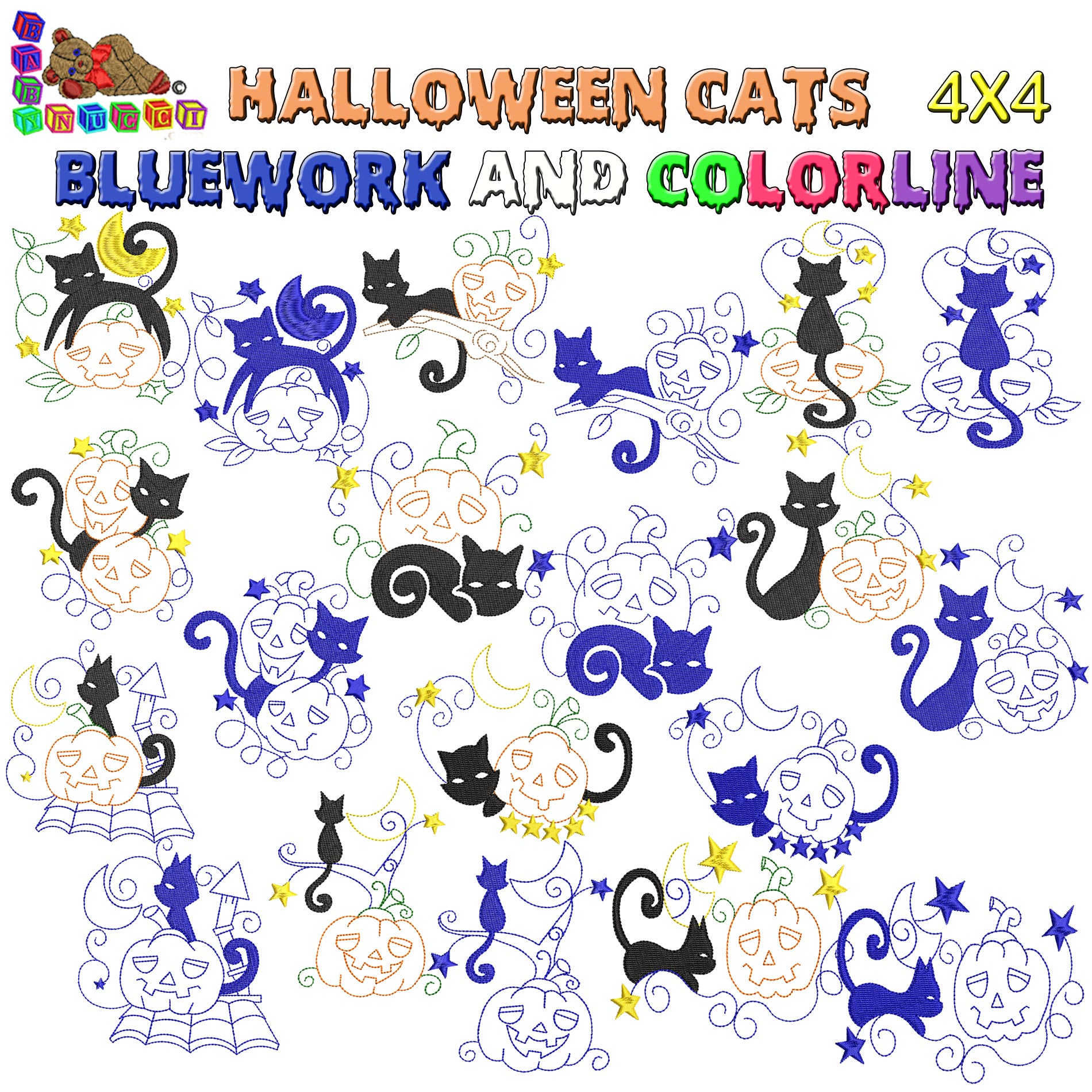 Halloween cats Bluework and Colorlines