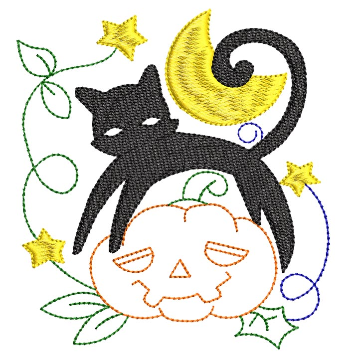 Halloween cats Bluework and Colorlines 01