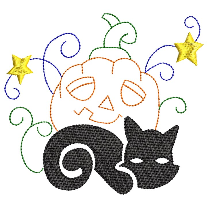 Halloween cats Bluework and Colorlines 05