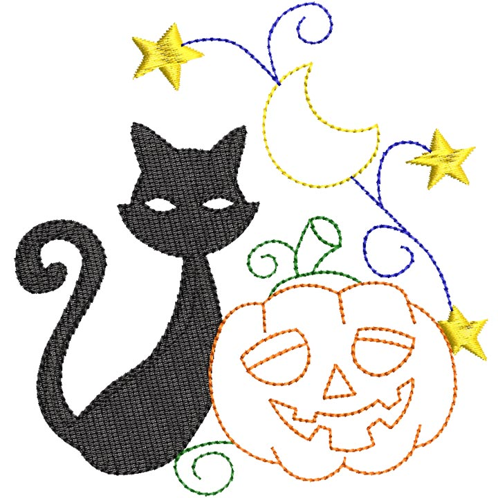 Halloween cats Bluework and Colorlines 06