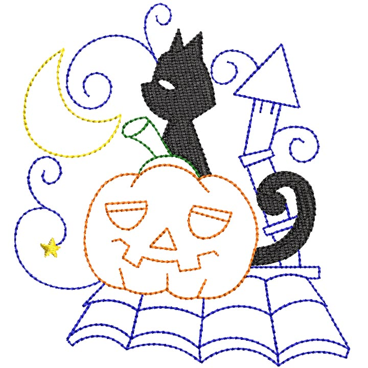 Halloween cats Bluework and Colorlines 07
