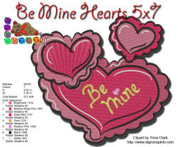Be Mine Hearts 5x7 EMBROIDERY DESIGN