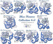 Blue Flowers Collection 4x4