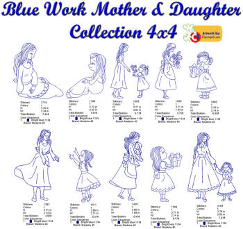 Blue Work Mother & Daughter Collection 4x4
