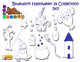 Bluework Halloween 14 5x7