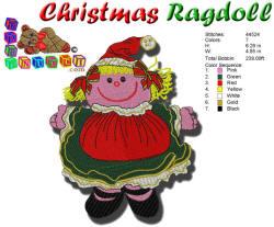 CHRISTMAS RAGDOLL EMBROIDERY DESIGN 5X7