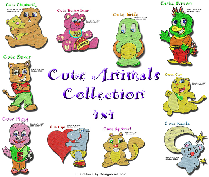 Cute animals babynucci embroidery designs