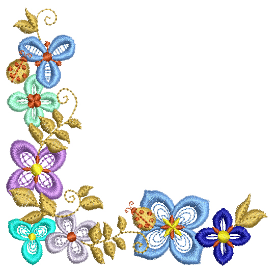 Flower Corner 7 4x4 BabyNucci Embroidery Designs