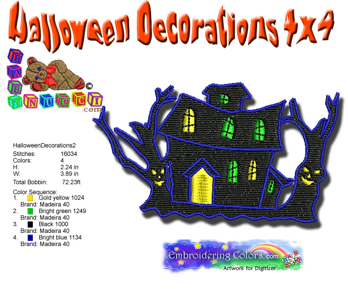 Halloween decorations 2 4x4 babynucci embroidery designs for Decoration 4x4