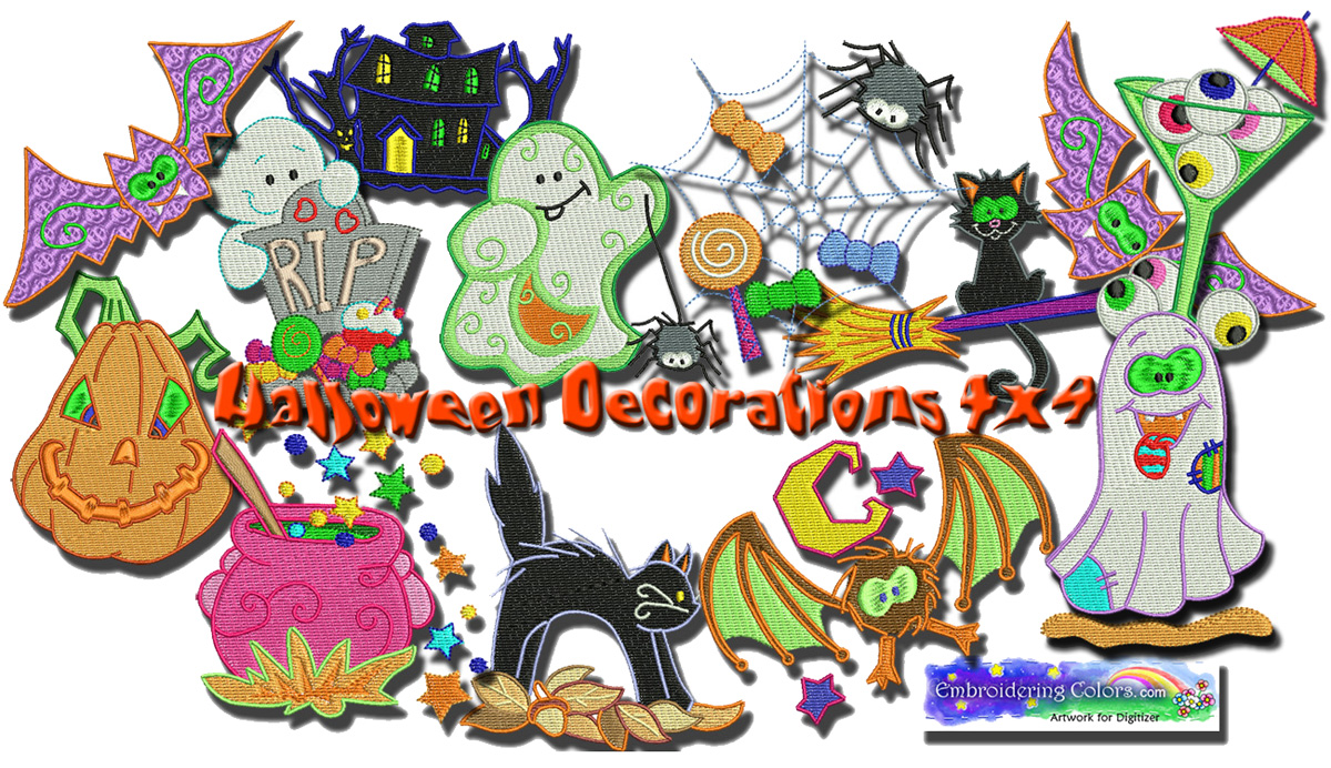 Halloween decorations 4x4 babynucci embroidery designs for Decoration 4x4