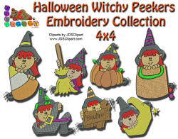 Halloween Witchy Peekers Embroidery Collection 4x4