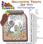 HALLOWEEN TREATS JAR APPLIQUE EMBROIDERY DESIGN 4X4
