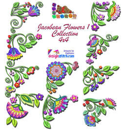 Jacobean Flowers1 Collection4x4