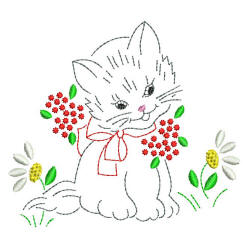 Little Kitty Hand Embroidery Style Babynucci Embroidery Designs