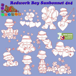 Redwork Boy Bonnet