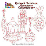 Redwork Christmas Ornament Collection 2