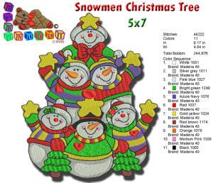 SNOWMEN CHRISTMAS TREE EMBROIDERY DESIGN 5X7