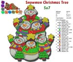 SNOWMEN CHRISTMAS TREE EMBROIDERY DESIGN 5X7