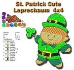 St Patrick Cute Leprechaum 4x4