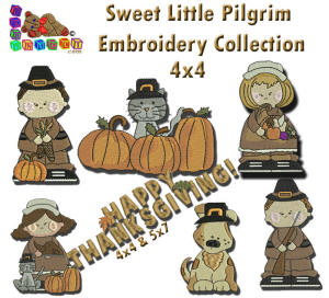 Sweet Little Pilgrim Embroidery Collection 4x4