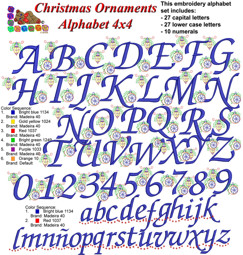 christmas ornaments alphabet 4x4 loading zoom
