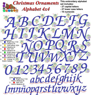 Christmas Ornaments Alphabet  4x4