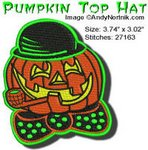 Halloween Pumpkin Top Hat 4x4